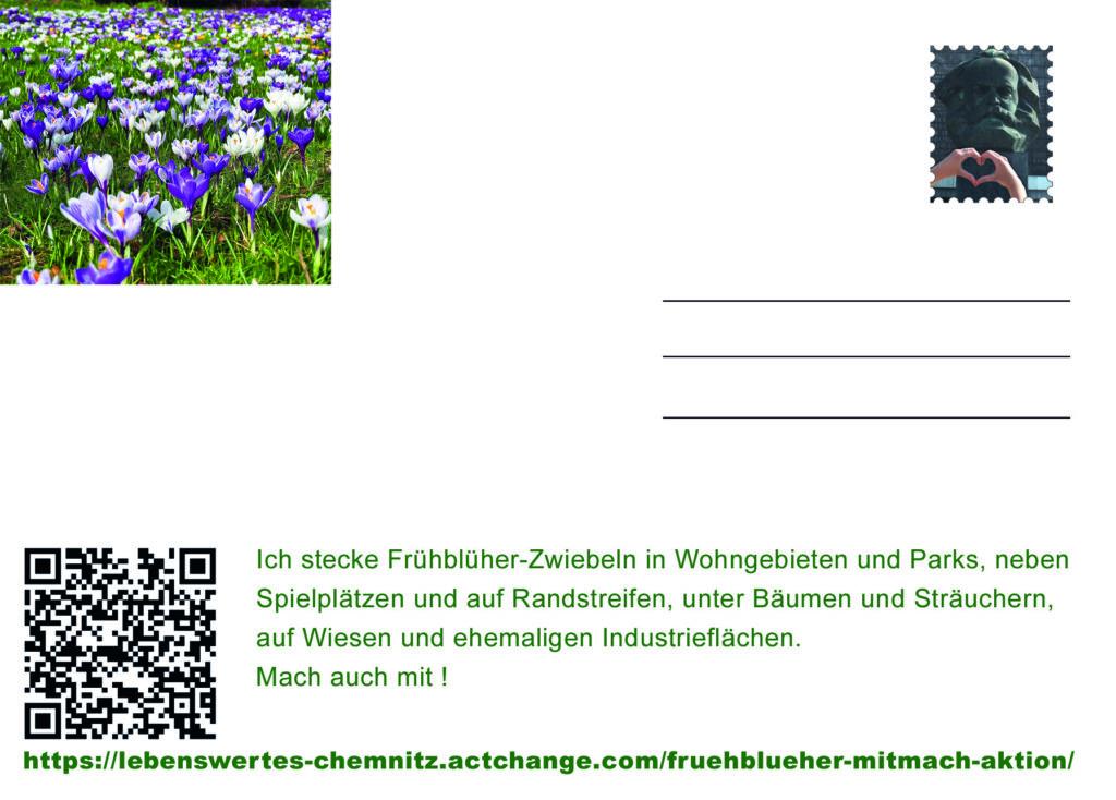 Postkarte (15x10) Rückseite: Frühblüher-Mitmach Aktion